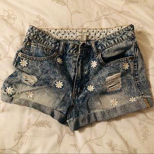 Daisy embroidered high waisted denim shorts